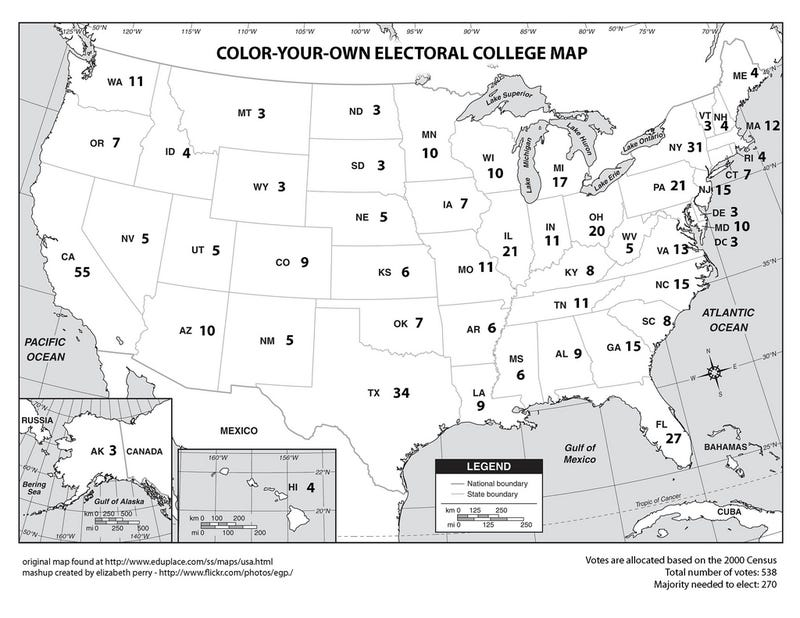 Illustration for article titled POTUS Electoral College votes: Notes on diversity, etc.