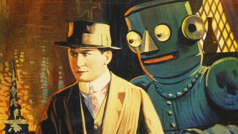 Houdini menaced by too-friendly robot. (Image: Kino Lorber)