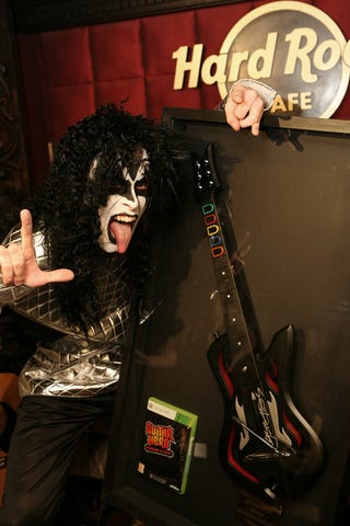 Illustration for article titled Fake Gene Simmons Ushers Fake Guitar Into Hard Rock Hall Of Fame