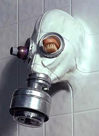 Illustration for article titled A Gasmask Becomes the Most Terrifying Showerhead Ever
