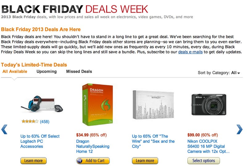 Illustration for article titled Amazon's Week of Black Friday Deals Kicks Off Today