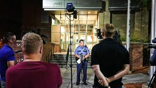 A St. Paul, Minn., police spokesman speaks at a press conference Sept. 13, 2017, announcing the arrest of Brent Ahlers for fabricating a story about a nonexistent black shooter. (St. Paul Police)