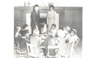 Ruth Acty and her kindergarten class at the Longfellow School in 1943.