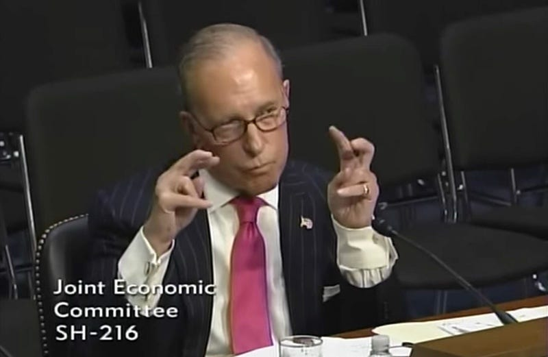 Larry Kudlow making air quotes (YouTube)
