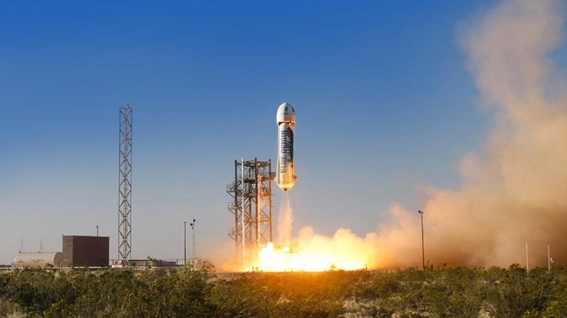 A test of the New Shepard launch vehicle.