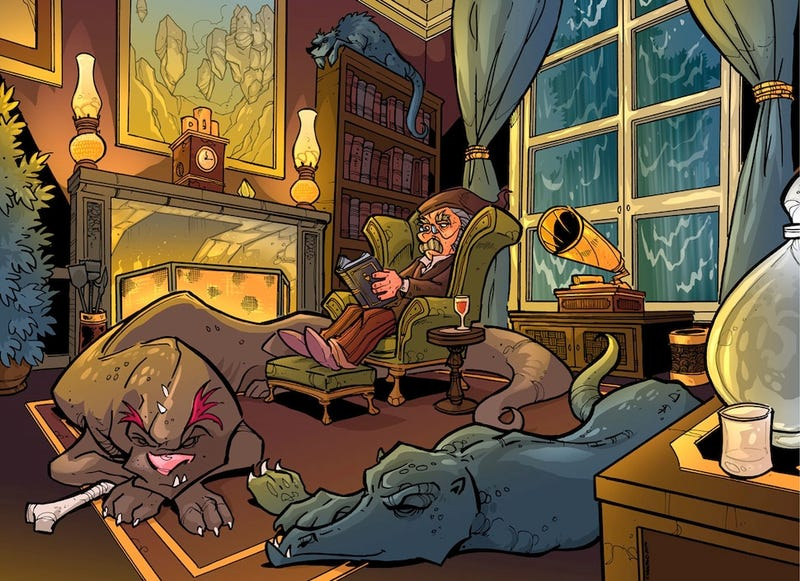 Illustration for article titled Concept Art Writing Prompt: A Quiet Evening with Dragons