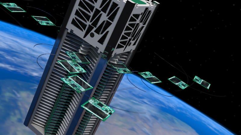 Artist's concept of Kicksat-2 deploying a small fleet of robotic chipsats into low Earth orbit. Image: Zac Manchester
