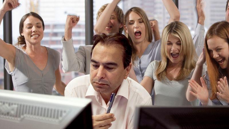 Office Cheering On Employee Going For 32-Minute Nonstop Work Streak