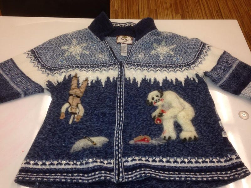 behold the greatest holiday sweater of all time it was made by a co worker of reddit user imnojesus whose vision and talent needs to be enshrined in some