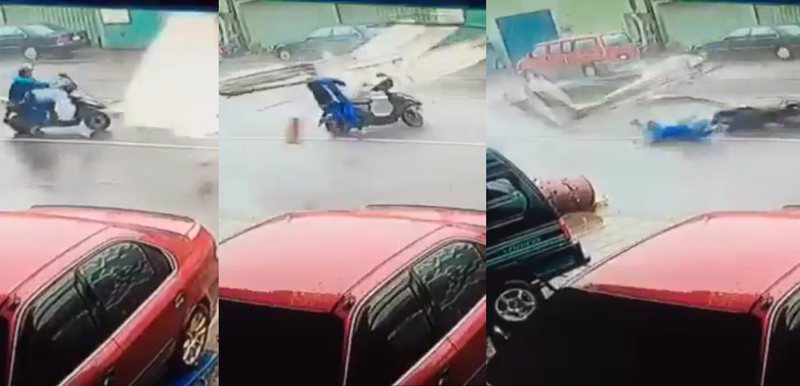 Illustration for article titled Moped Man Takes Typhoon Debris Straight To The Face
