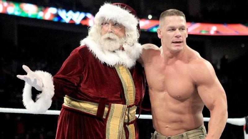 Santa Claus (left), John Cena (Photo: USA Network/WWE)