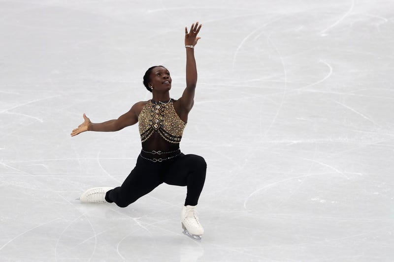 Maé Bérénice Méité of France competes in the Figure Skating Team Event –Ladies' Short Program on day 2 of the Pyeongchang 2018 Winter Olympic Games at Gangneung Ice Arena on Feb. 11, 2018, in Gangneung, South Korea. (Richard Heathcote/Getty Images)