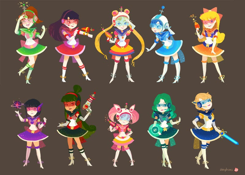 Illustration for article titled Sailor Moon gets retro-cool with these space pulp redesigns