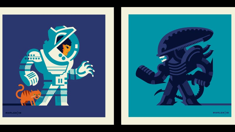 "Ripley and the Xenomorph face off in ""Versus,"" a two-man show at Gallery 1988 in LA."