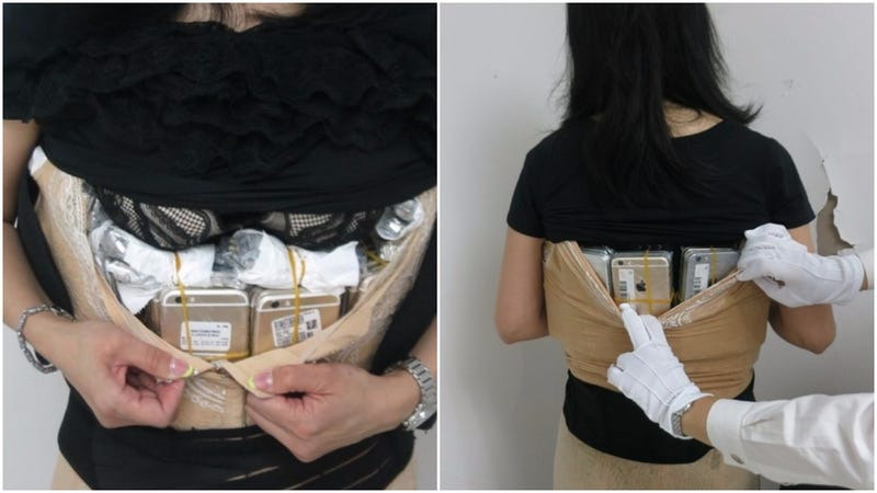 Woman Arrested for Smuggling 102 iPhones Under Her Clothes