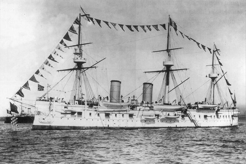 The Imperial Russian Cruiser Dmitriy Donskoi.