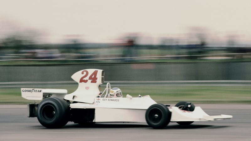 Guy Edwards practicing for the Graham Hill International Trophy at Silverstone Circuit in 1976.