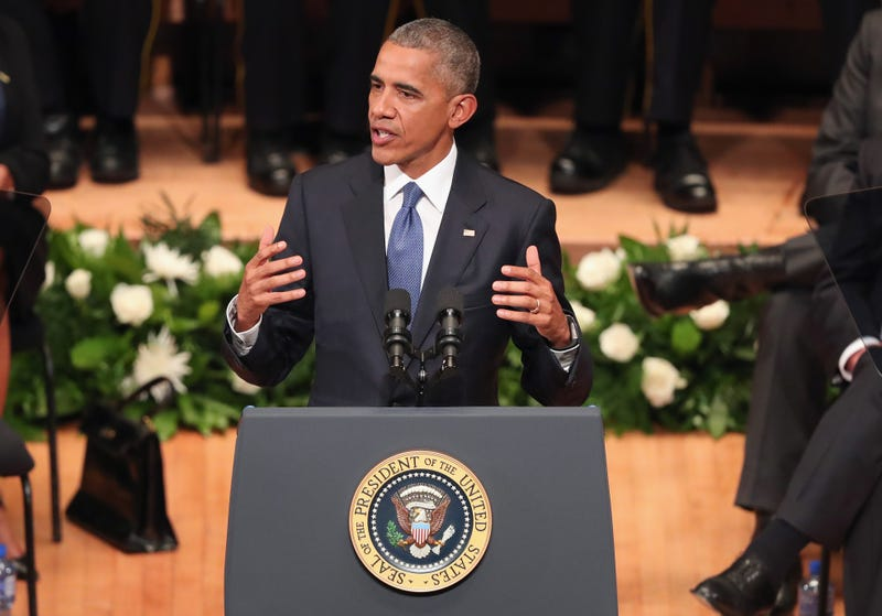 President Barack Obama delivers remarks during an interfaith memorial service honoring five slain police officers at the Morton H. Meyerson Symphony Center in Dallas on July 12, 2016. A sniper opened fire following a Black Lives Matter march in Dallas, killing five police officers and injuring several others.Tom Pennington/Getty Images
