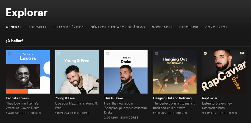 Illustration for article titled Por qué demonios apareció una foto de Drake en cada una de las listas principales de Spotify