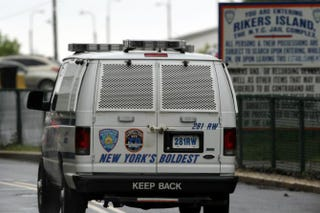 A view of a New York City Department of Correction vehicle near the entrance to the Rikers Island jail complex Spencer Platt/Getty Images
