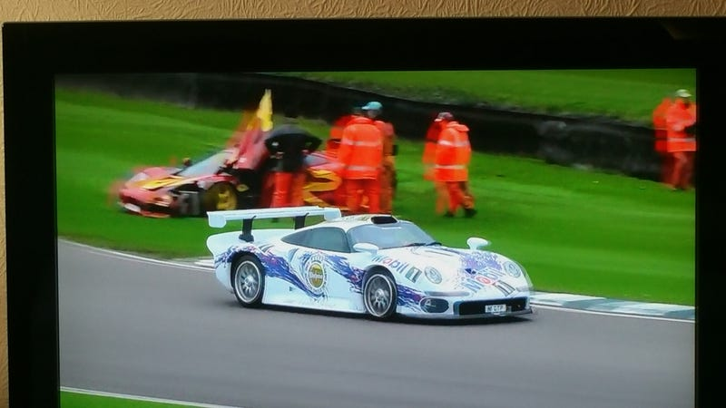 Illustration for article titled Nick Mason Done Crashed His F1 GTR