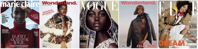 (l-r) Rea Milla for Marie Claire Hungary, November 2018; Maria Borges for Wonderland, Autumn 2018; Lupita Nyong'o for Vogue España; Duckie Thot for Wonderland, Autumn 2018; Jourdan Dunn for Elle Italia, November 2018
