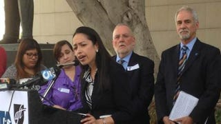 Fifth-grade teacher Gaby Ibarra of the ABC Unified School District speaks at a demonstration in March 2014 about education issues.Courtesy of AFL-CIO