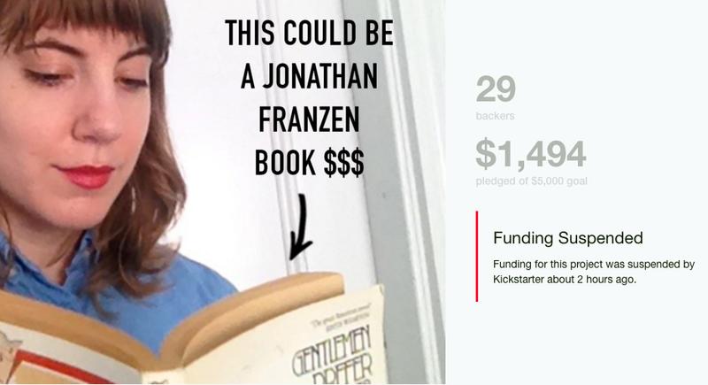 Illustration for article titled Kickstarter Suspends Funding for Woman Seeking $5K as Fair Pay for Reading Jonathan Franzen