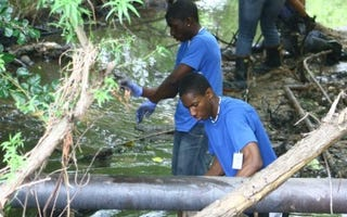 Community stream cleanup in Atlanta area (West Atlanta Watershed Alliance)