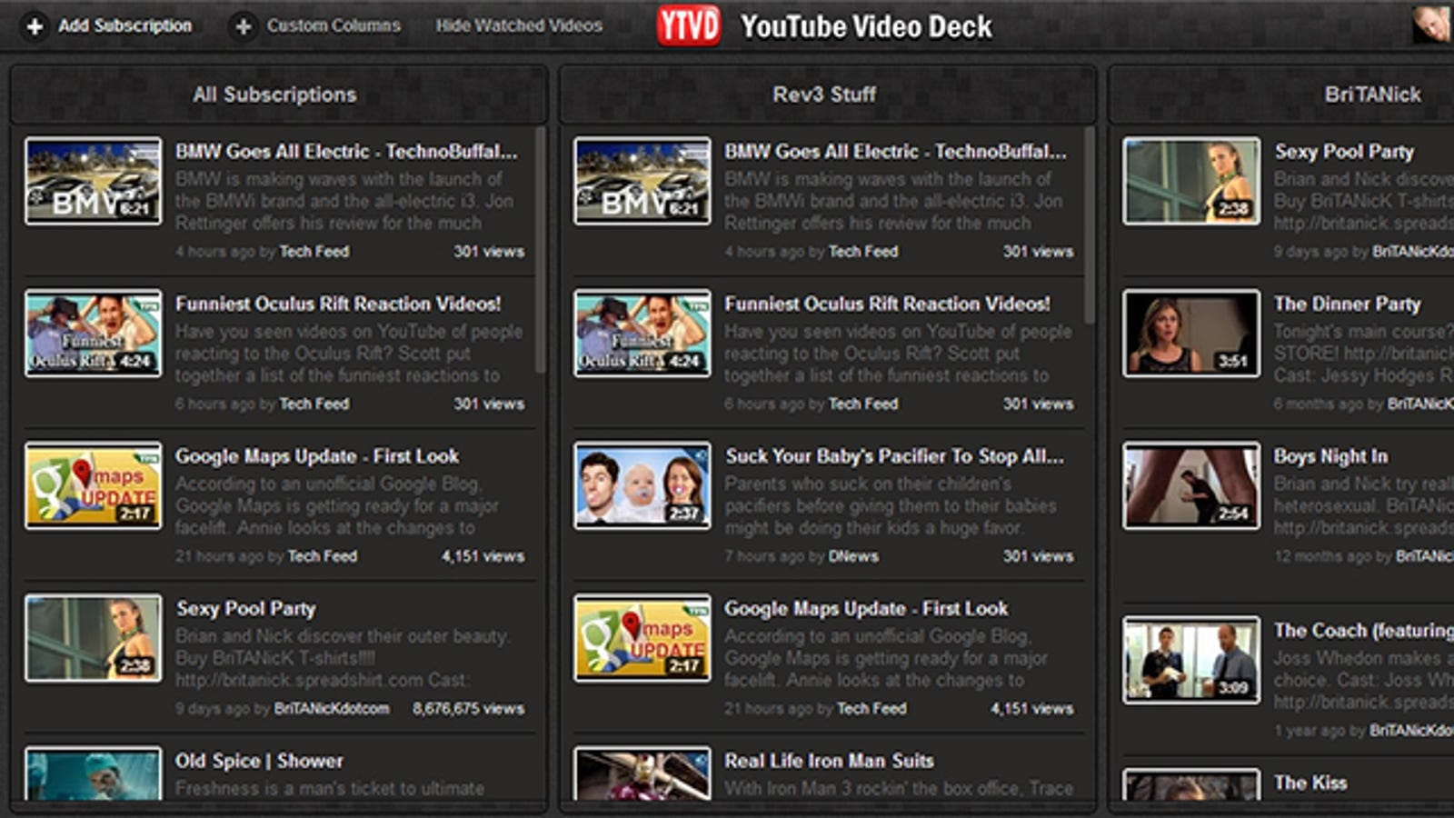 YouTube Video Deck Manages Your Video Subscriptions