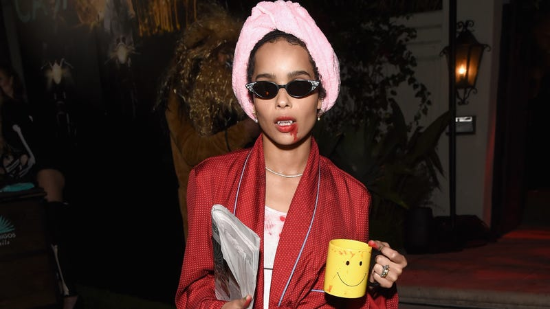 "Zoe Kravitz says ""Mornings Suck""—literally—at the Casamigos Halloween Party on October 26, 2018 in Beverly Hills, California."