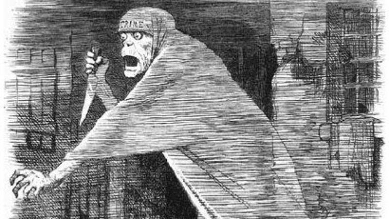 1888 newspaper illustration portraying Jack The Ripper as the personification of urban neglect