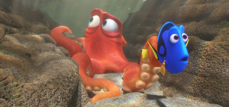 Dory and Hank brave the horrors of the aquarium in Finding Dory. All Images: Disney