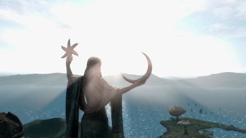 Illustration for article titled Morrowind-in-Skyrim Mod Status: Still Not Done, Still Very Pretty