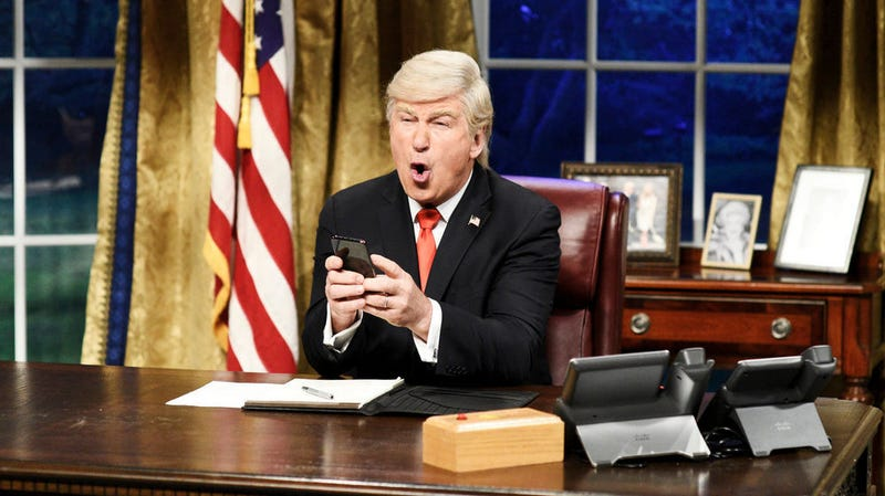 """Illustration for article titled Alec Baldwin joins America in being """"so done with"""" Alec Baldwin's Trump impression on SNL"""
