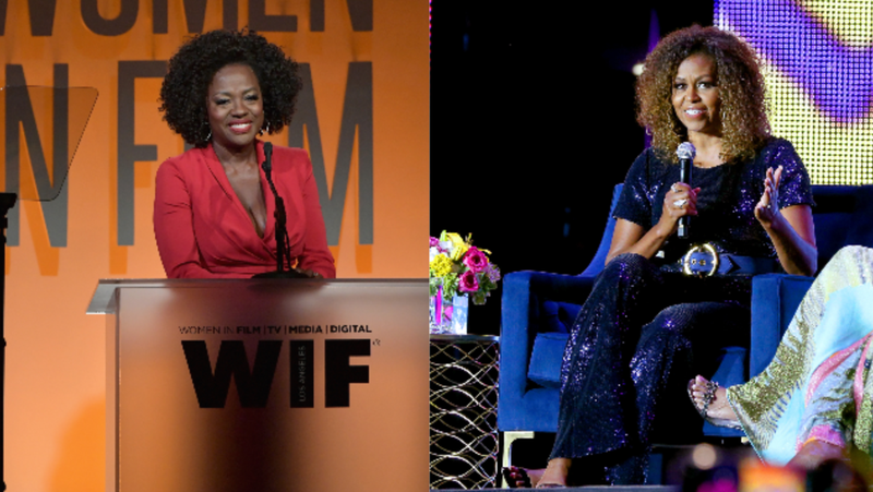 Viola Davis, left, speaks onstage at the 2019 Women In Film Annual Gala on June 12, 2019 in Beverly Hills, California. ; Michelle Obama speaks onstage during the 2019 Essence Festival Presented on July 06, 2019 in New Orleans, Louisiana.