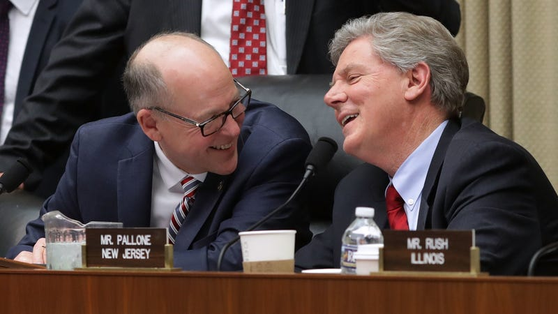 House Energy and Commerce Committee Chairman Greg Walden (R-OR) (L) shares a light moment with ranking member Rep. Frank Pallone (D-NJ) during a markup hearing on Capitol Hill March 8, 2017 in Washington, DC.
