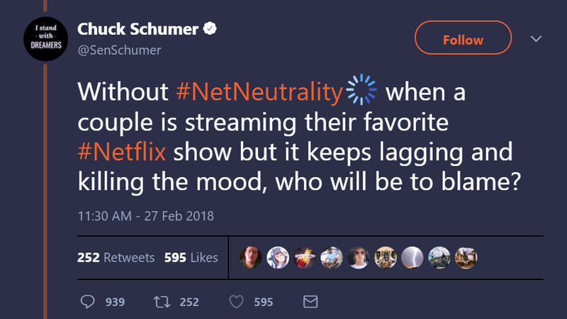 Illustration for article titled Chuck Schumer on Net Neutrality: Will People Still Be Able to Bang?