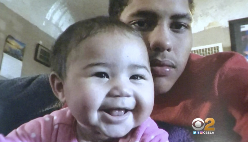 "Anthony ""A.J."" Weber and his 9-month-old daughter, Violet (CBS 2 screenshot)"