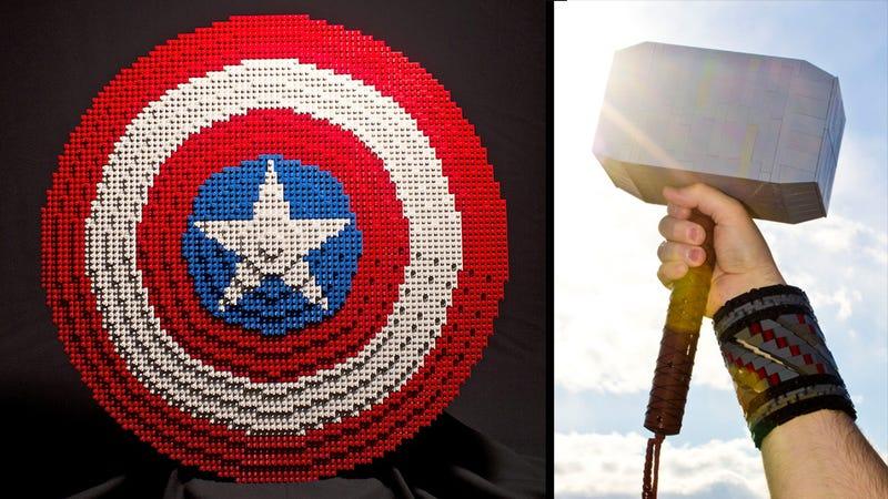 Illustration for article titled Nerdgasm Alert: Full Size Lego Avengers Props!