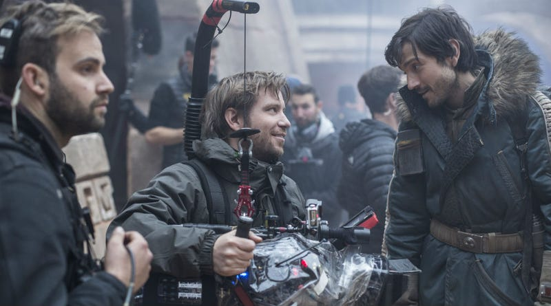 Gareth Edwards (center) directs Diego Luna on the set of Rogue One. Image: Disney