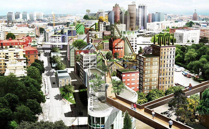 Illustration for article titled Este alucinante proyecto para cambiar Estocolmo permite ir de casa al trabajo por la azotea