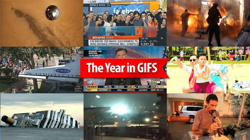 Illustration for article titled The Most Important Events of 2012 in 14 GIFs