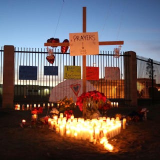 A memorial is seen near the Inland Regional Center as the community remembers those injured and killed during the shooting at the center on Dec. 4, 2015, in San Bernardino, Calif.Joe Raedle/Getty Images