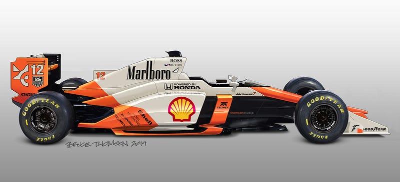 Illustration for article titled The Best Retro-Liveried Formula 1 Sketches You'll Ever Find