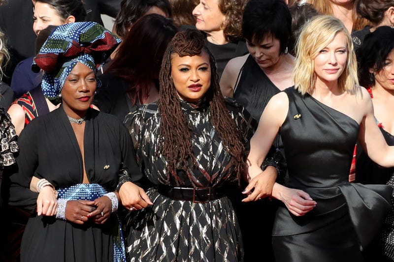 Cannes jury members Khadja Nin and Ava DuVernay and this year's jury president, Cate Blanchett, walk the red carpet in protest of the lack of female filmmakers honored throughout the history of the Cannes Film Festival at the screening of Girls of the Sun (Les Filles Du Soleil) at the Palais des Festivals on May 12, 2018, in Cannes, France.