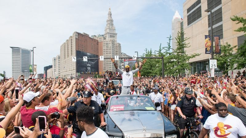 LeBron James during the Cavaliers victory parade (Photo: Jason Miller/Getty Images)