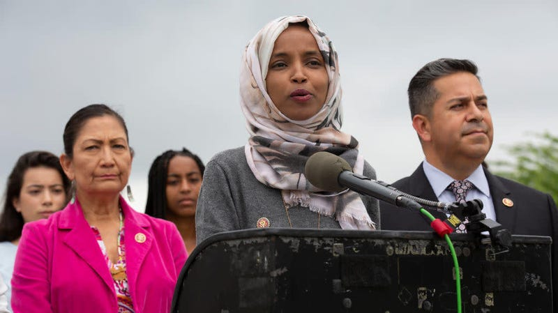 Rep. Ilhan Omar speaking at a press conference to introduce a piece of legislation in Washington, D.C., June 19, 2019