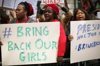 Protesters calling for the release of a group of abducted Nigerian schoolgirls gather outside Nigeria House on May 9, 2014, in London.Dan Kitwood/Getty Images