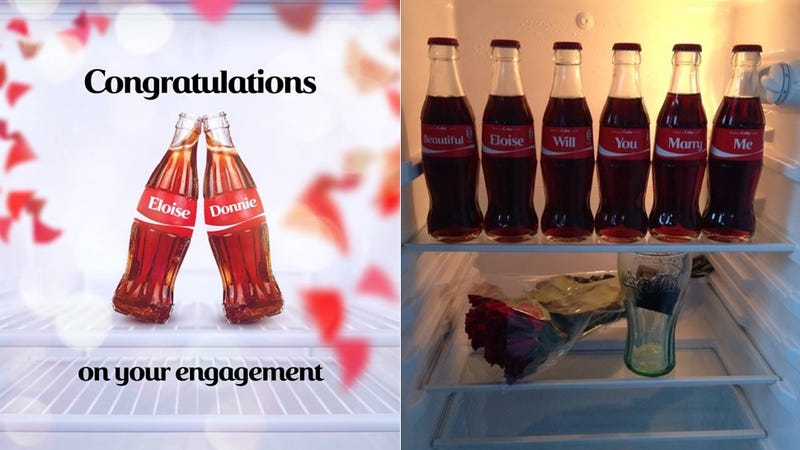 Illustration for article titled Man Proposes to Girlfriend With Coke Bottles and Lots of Sugar